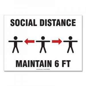 "Accuform Social Distance Signs, Wall, 14 x 10, ""Social Distance Maintain 6 ft"", 3 Humans/Arrows, White, 10/Pack GN1MGNF546VPESP"