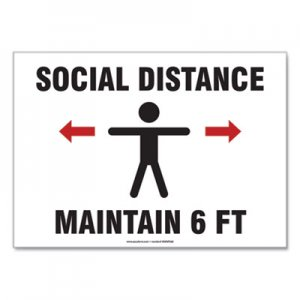 "Accuform Social Distance Signs, Wall, 14 x 10, ""Social Distance Maintain 6 ft"", Human, White, 10/Pack GN1MGNF542VPESP MGNF542VPESP"