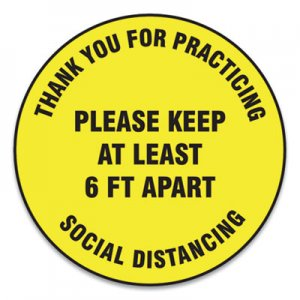 "Accuform Slip-Gard Floor Signs, 12"" Circle,""Thank You For Practicing Social Distancing Please Keep At Least 6 ft Apart"