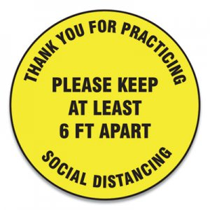 "Accuform Slip-Gard Floor Signs, 17"" Circle,""Thank You For Practicing Social Distancing Please Keep At Least 6 ft Apart"