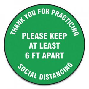"Accuform Slip-Gard Floor Signs, 17"" Circle, ""Thank You For Practicing Social Distancing Please Keep At Least 6 ft Apart"