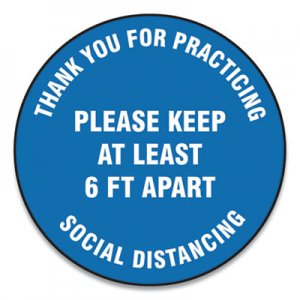 "Accuform Slip-Gard Floor Signs, 12"" Circle, ""Thank You For Practicing Social Distancing Please Keep At Least 6 ft Apart"