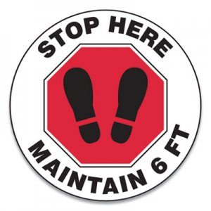 "Accuform Slip-Gard Social Distance Floor Signs, 12"" Circle, ""Stop Here Maintain 6 ft"", Footprint, Red/White, 25/Pack GN1MFS388ESP"