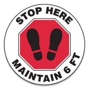 "Accuform Slip-Gard Social Distance Floor Signs, 17"" Circle, ""Stop Here Maintain 6 ft"", Footprint, Red/White, 25/Pack GN1MFS390ESP"