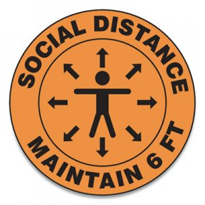 "Accuform Slip-Gard Social Distance Floor Signs, 17"" Circle, ""Social Distance Maintain 6 ft"", Human/Arrows, Orange, 25/Pack GN1MFS382ESP"