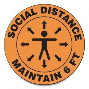 "Accuform Slip-Gard Social Distance Floor Signs, 12"" Circle, ""Social Distance Maintain 6 ft"", Human/Arrows, Orange, 25/Pack GN1MFS380ESP"