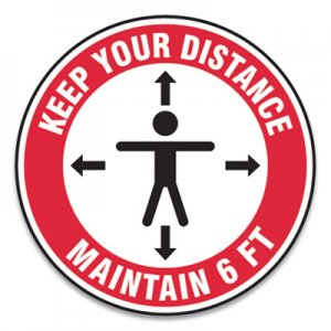 "Accuform Slip-Gard Social Distance Floor Signs, 17"" Circle, ""Keep Your Distance Maintain 6 ft"", Human/Arrows, Red/White, 25"