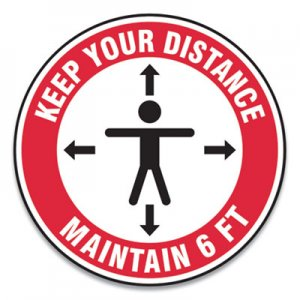 "Accuform Slip-Gard Social Distance Floor Signs, 12"" Circle, ""Keep Your Distance Maintain 6 ft"", Human/Arrows, Red/White, 25"