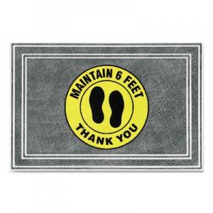 "Apache Mills Message Floor Mats, 24 x 36, Charcoal/Yellow, ""Maintain 6 Feet Thank You"" APH3984528802X3 3984528802X3"