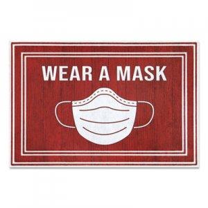 "Apache Mills Message Floor Mats, 24 x 36, Red/White, ""Wear A Mask"" APH3984528842X3 3984528942X3"
