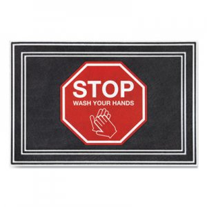"""Apache Mills Message Floor Mats, 24 x 36, Charcoal/Red, """"Stop Wash Your Hands"""" APH3984528832X3 3984528832X3"""