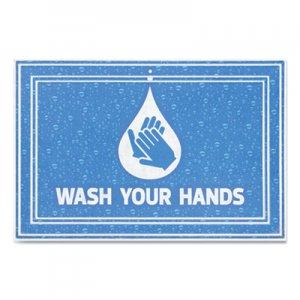 "Apache Mills Message Floor Mats, 24 x 36, Blue, ""Wash Your Hands"" APH3984528822X3 3984528822X3"