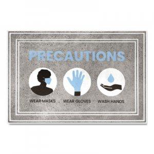 "Apache Mills Message Floor Mats, 24 x 36, Gray/Blue, ""Precautions Wear Masks Wear Gloves Wash Hands"" APH3984528812X3 3984528812X3"