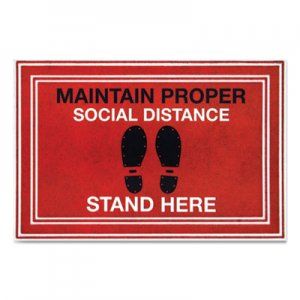 """Apache Mills Message Floor Mats, 24 x 36, Red/Black, """"Maintain Social Distance Stand Here"""" APH3984528792X3 3984528792X3"""