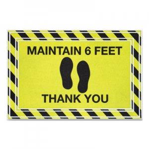 "Apache Mills Message Floor Mats, 24 x 36, Black/Yellow, ""Maintain 6 Feet Thank You"" APH3984528782X3 3984528782X3"
