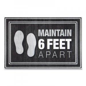 "Apache Mills Message Floor Mats, 24 x 36, Charcoal, ""Maintain 6 Feet Apart"" APH3984528772X3 3984528772X3"