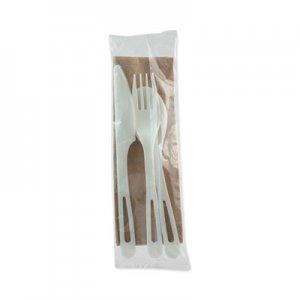 "World Centric TPLA Compostable Cutlery, Knife/Fork/Spoon/Napkin, 6"", White, 250/Carton WORASPSTN ASPSTN"
