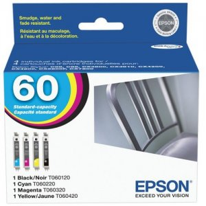 Epson 60, DuraBrite Black/Color Ink Cartridges, Pack Of 4 T060120-BCS 60 (T060120-BCS)