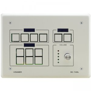 Kramer 12-button Ethernet and KNET Control Keypad with Knob and Displays (US) 85-709770290 RC-74DL(W)