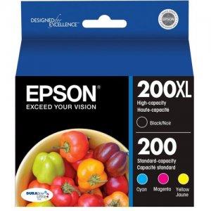 Epson DuraBrite Ultra Black/Color Ink Cartridges, Pack Of 4 T200XL-BCS 200XL/200 (T200XL-BCS)