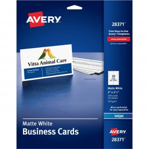"Avery 2"" x 3.5"" Business Cards, Sure Feed(TM) Technology, Inkjet, 100 Cards 28371 AVE28371"