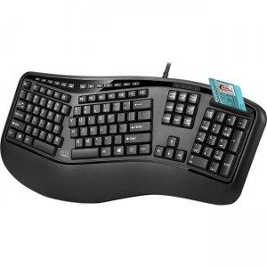 Adesso TAA Compliant Desktop Ergonomic Smart Card Reader Keyboard AKB-150SB-TAA
