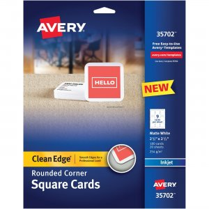 Avery Rounded Edge Inkjet Square Cards 35702 AVE35702