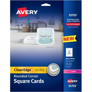 Avery Rounded Edge Laser Square Cards 35703 AVE35703