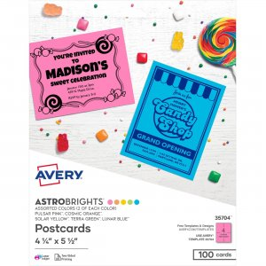 Avery Astrobrights Assorted Color Postcards 35704 AVE35704