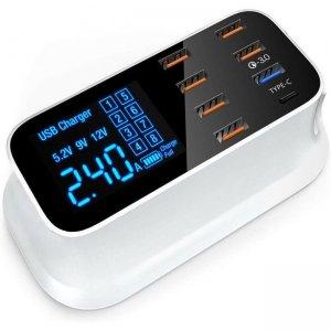 4XEM 40W 8-Port USB Desktop Charger Quick Charge (QC) 4XSMARTPWR8QC3