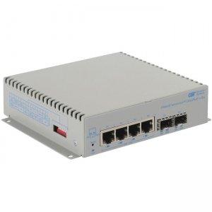 Omnitron Systems OmniConverter 10GPoE+/Sx PoE+, 2xSFP/SFP+, 4xRJ-45, 1xAC Powered Wide Temp 9581-0-24-1W