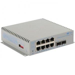 Omnitron Systems OmniConverter 10GPoE+/Sx PoE+, 2xSFP/SFP+, 8xRJ-45, 1xDC Powered Commercial Temp 9581-0-28-9