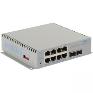 Omnitron Systems OmniConverter 10GPoE+/Sx PoE+, 2xSFP/SFP+, 8xRJ-45, 1xDC Powered Wide Temp 9581-0-28-9W