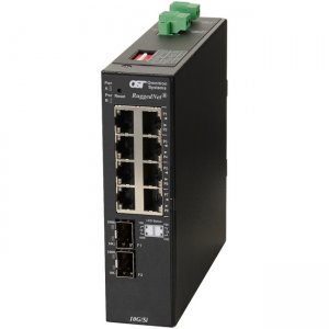 Omnitron Systems RuggedNet 10G/Si , 2xSFP/SFP+, 8xRJ-45, 2xDC Powered Industrial Temp 2903-0-28-2Z