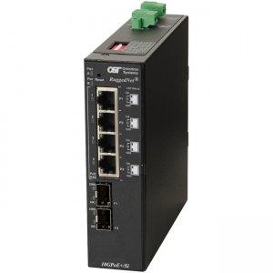 Omnitron Systems RuggedNet 10GPoE+/Si PoE+, 2xSFP/SFP+, 4xRJ-45, 2xDC Powered Industrial Temp 9583-0-24-2Z