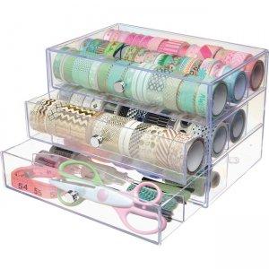 deflecto 3-drawer Transparent Storage Cube 350901CR DEF350901CR