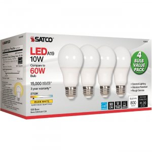 Satco 10W A19 LED 2700K Frosted Bulbs S28560 SDNS28560