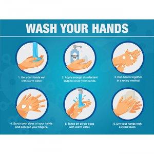 Lorell WASH YOUR HANDS 6 Steps Sign 00255 LLR00255
