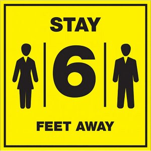 Lorell Stay 6 Feet Away Bright Yellow Sign 00257 LLR00257