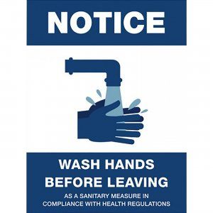 Lorell NOTICE Wash Hands Before Leaving Sign 00256 LLR00256
