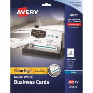 Avery Clean Edge Business Cards - True Print Matte - 2 -Sided Printing 28877 AVE28877