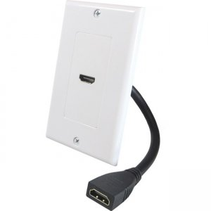 Comprehensive Single Gang Decora Wall Plate White - HDMI Female Passthru with Pigtail WP-5855-P-W