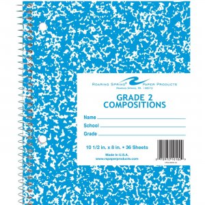 """Roaring Spring Grade Two Notebook 10.5"""" X 8"""" Blue Cover 10102 ROA10102"""