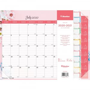 Blueline Colorful Academic Desk Pad - Floral, 18 Months CA1716BD REDCA1716BD