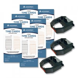 Acroprint TXP300 Accessory Bundle, 3.5 x 7.5, Bi-Weekly/Weekly, Two-Sided, 300 Cards and 3 Ribbons/Kit