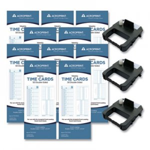 Acroprint EXP500 Accessory Bundle, 3.38 x 8.25, Weekly, Two-Sided, 500 Cards and 3 Ribbons ACPEXP500 010296001