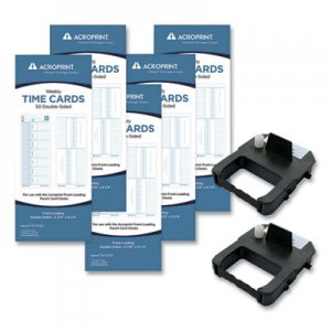 Acroprint EXP250 Accessory Bundle, 3.38 x 8.25, Weekly, Two-Sided, 250 Cards and 2 Ribbons/Kit ACPEXP250 010296000