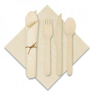 """Hoffmaster Pre-Rolled Caterwrap Kraft Napkins with Wood Cutlery, 6 x 12 Napkin;Fork;Knife;Spoon, 7"""" to 9"""", Kraft"""