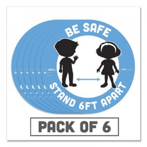 "Tabbies BeSafe Messaging Education Floor Signs, Be Safe; Stand 6 Ft Apart, 12"" dia, White/Blue, 6/Pack TAB29513 29513"