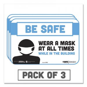 "Tabbies BeSafe Messaging Education Wall Signs, 9 x 6, ""Be Safe, Wear a Mask at All Times While in the"